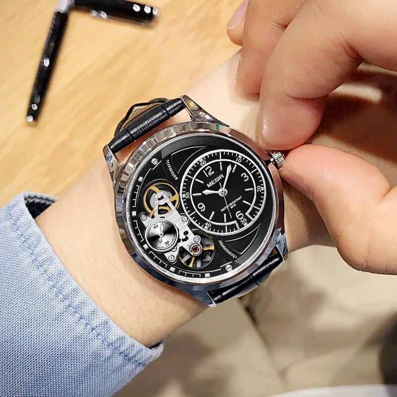 MEGIR Top marque montres de sport hommes marque de mode bracelet en cuir étanche mécanique montres à Quartz montres Relogio Masculino