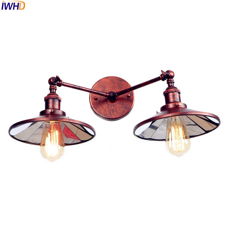 IWHD Rust American Vintage Wall Lamp LED Beside 2 Heads Adjustable Arm Industrial Edison Wall Sconce Lights Aplique Pared