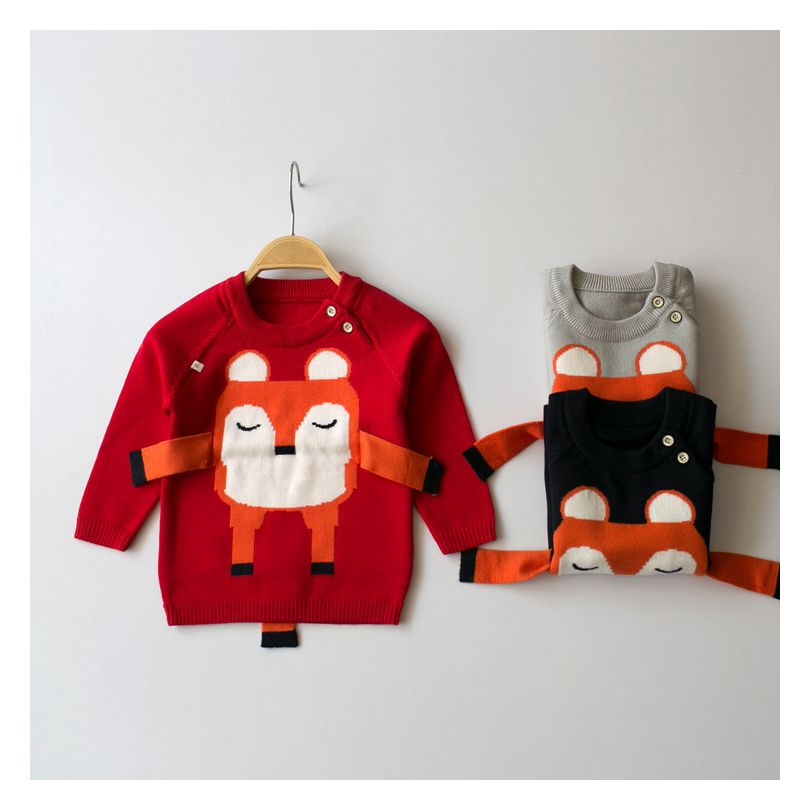 2016 Infant Sweater for Boy Girl Infant Baby Knitted Casual Sweater Winter Mustache Children Outerwear Skirt Fox Pullovers