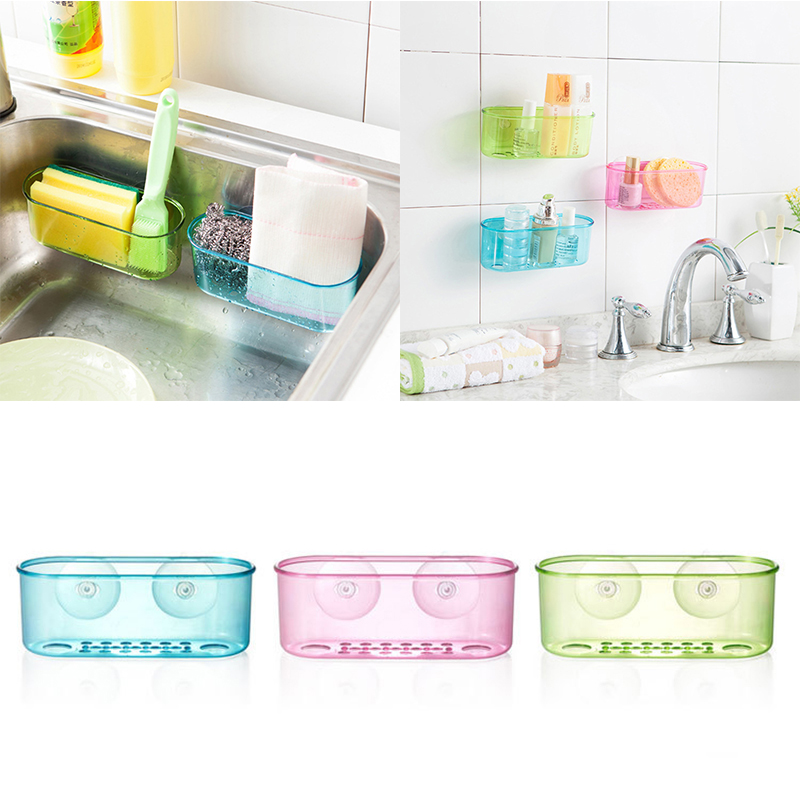Hot sale wall mounted suction hanging sink holder sponge for Bathroom accessories organizer