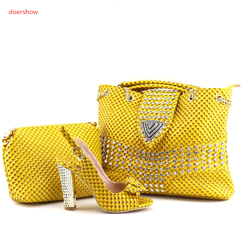doershow fashion Style Italian Women Matching Shoes and Bag Set Italian Wedding African Shoes And Bag To Match For Party QV1-2 african fashion shoes with matching bag set for wedding party italian design nigeria women pumps shoes and bags mm1060