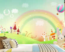 Beibehang Custom wallpaper cartoon rainbow beautiful fresh freshness color modern children living room background wall