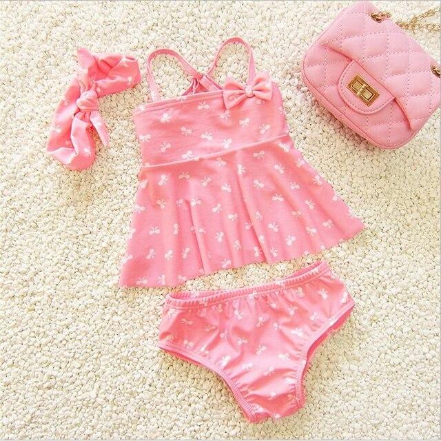 0f4258009c5 2016 Summer Children Fashion Baby Swimwear for Girls Cute Infant Kids  Swimsuit Pink Color Flower Baby Clothing Bikini Sets