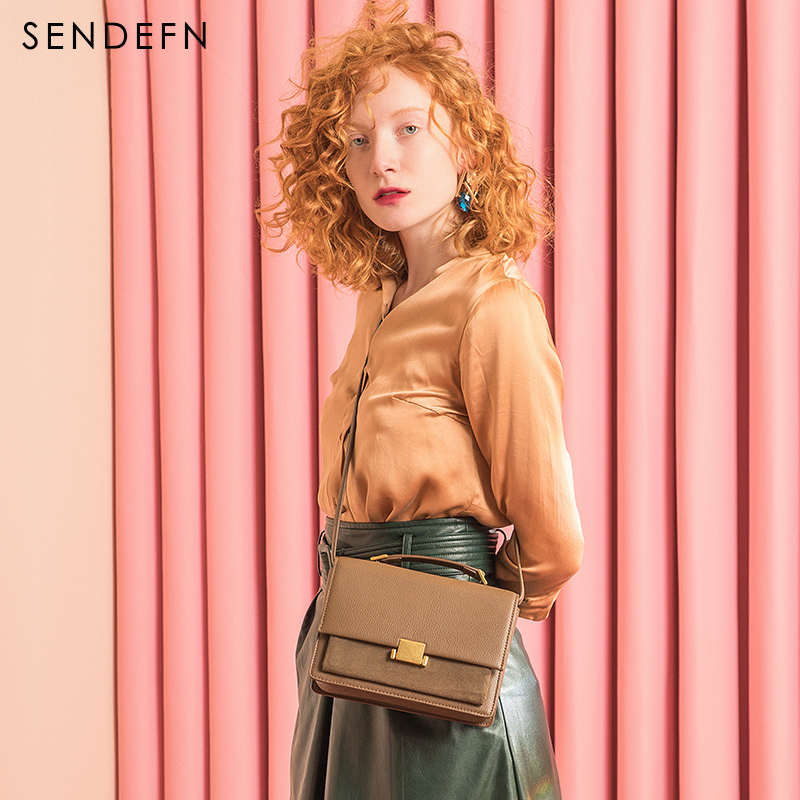 цена Sendefn Brand Fashion Split Leather Women Bag Flap Women Small Crossbody Bag Wine Red Small Cowhide Bags Brand Designer Handbags