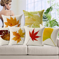 Red Yellow Maple Leaf Print Cushion Covers For Sofa Autumn Contton Linen 45 45cm Decorative Car