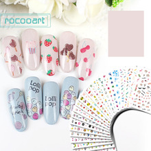 Rocooart DIY Women Adhesive Nail Sticker Lovely Cartoon Art Decoration Tips For Girl Harajuku Manicure Foil Decal