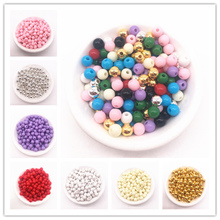 Wholesale 6/8/10/12mm Plastic Beads Smooth Round Loose Spacer Crafts Decoration For Bracelets Necklaces Jewelry Making