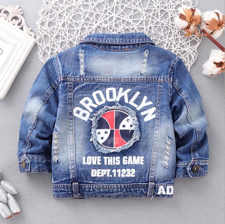New 2018 Boys patch Denim Jacket Baby Kids Street Motorcyle Disstrressed Jeans Jacket Boys Spring Denim Outwear 12M-5YEARS