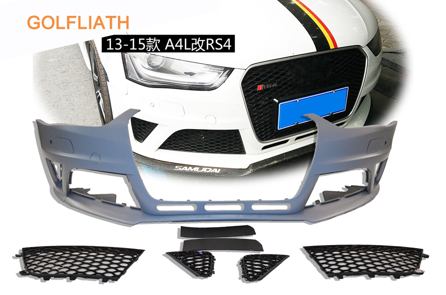 GOLFLIATH RS4 style PP+ABS unpainted front bumper kits Assembly upper grille grills front lip For Audi A4 2013-2015