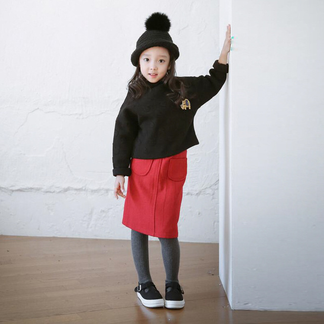 casual solid button kids skirts for girls cotton skirt clothes little big girls long skirts children clothing 2017 spring summer