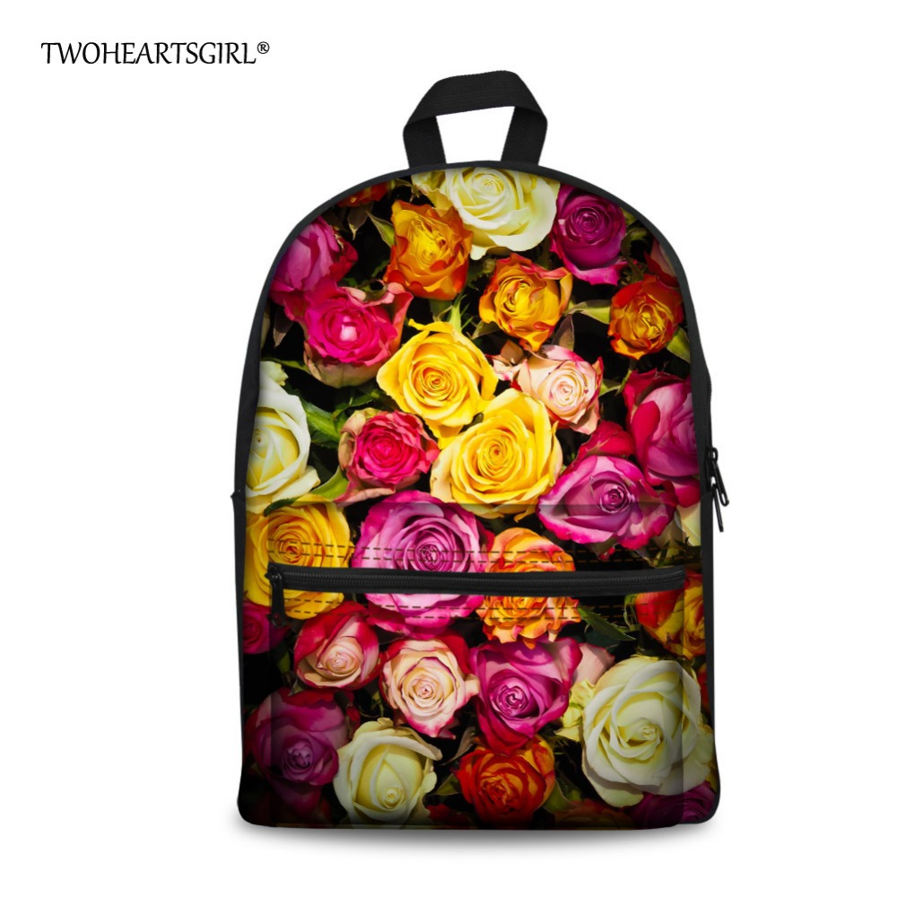 TWOHEARTSGIRL Pretty Floral Style School Bags for Teenager Girls Beautiful Primary Middle School Kids Book Bag High Children B