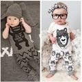2016 Новая Мода Детская Одежда футболку + Брюки 2 шт. Девочка Хлопчатобумажную Одежду Весна Лето Baby Boy одежда для Новорожденных