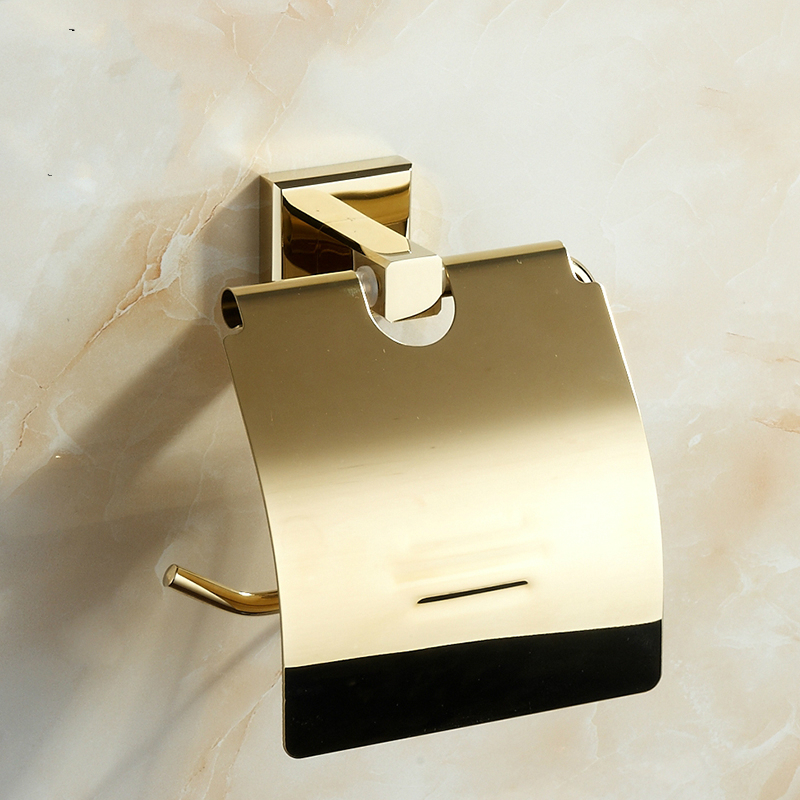European Gold Copper Roll Holder Vintage Solid Brass Polished Toilet Paper Holder Tissue Box Mounting Bathroom Accessories Y68 european black copper tissue roll holder vintage brushed toilet paper holder paper box wall mounted bathroom accessories j33
