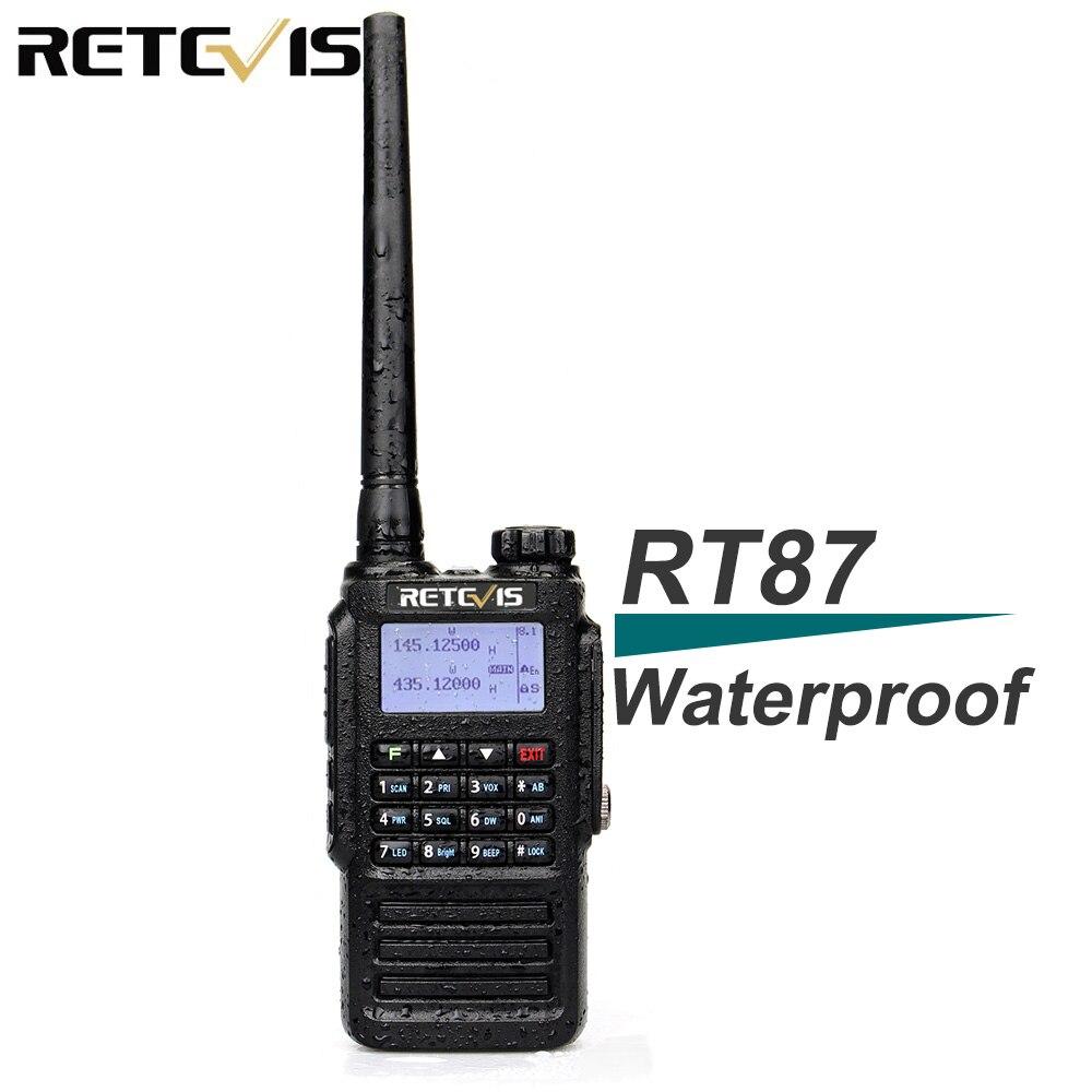 Waterproof IP67 Retevis RT87 Walkie Talkie Dual Band VHF UHF DTMF Amateur Radio for Hams to