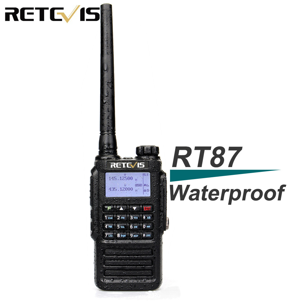 Waterproof IP67 Retevis RT87 Walkie Talkie Dual Band VHF UHF DTMF Amateur Radio For Hams To Use For Outdoor