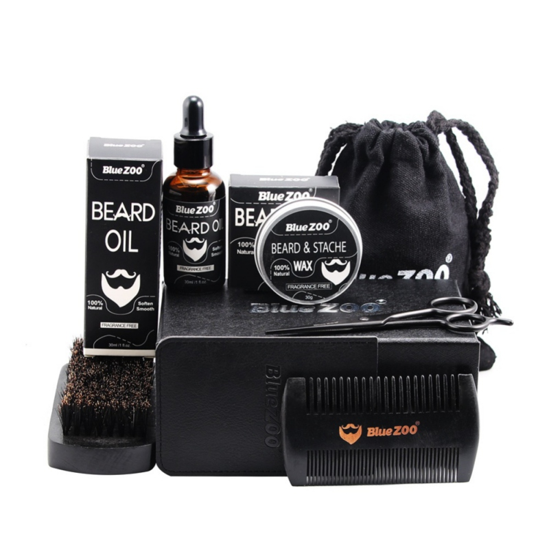 New Arrival 7 Pcs Men Moustache Cream Nutrition Beard Oil Beard Scissors Kit Box Moustache Comb Brush with Storage Bag Kits