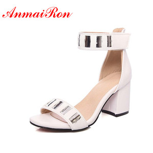 ANMAIRON New Women Fashion High Heels Open Toe Summer Sandals Shoes Women 4 Colors White Shoes Hook Party Sandals Platform Shoes