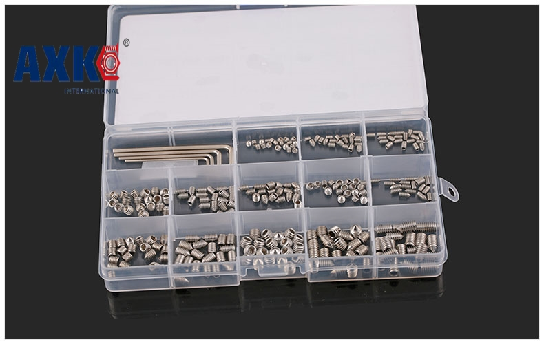 2018 Axk 260pcs Din914 M3 M4 M5 M6 304/316/12.9 Stainless Steel Grub Screws Cone Point Hexagon Hex Socket Set Assortment Kit 20pcs m4 m5 m6 din912 304 stainless steel hexagon socket head cap screws hex socket bicycle bolts hw003