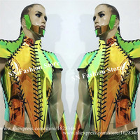 M03 Robot costume men party wear ballroom dance disco laser dj perform outfits mirror clothing suit cosplay clothes muscle gogo
