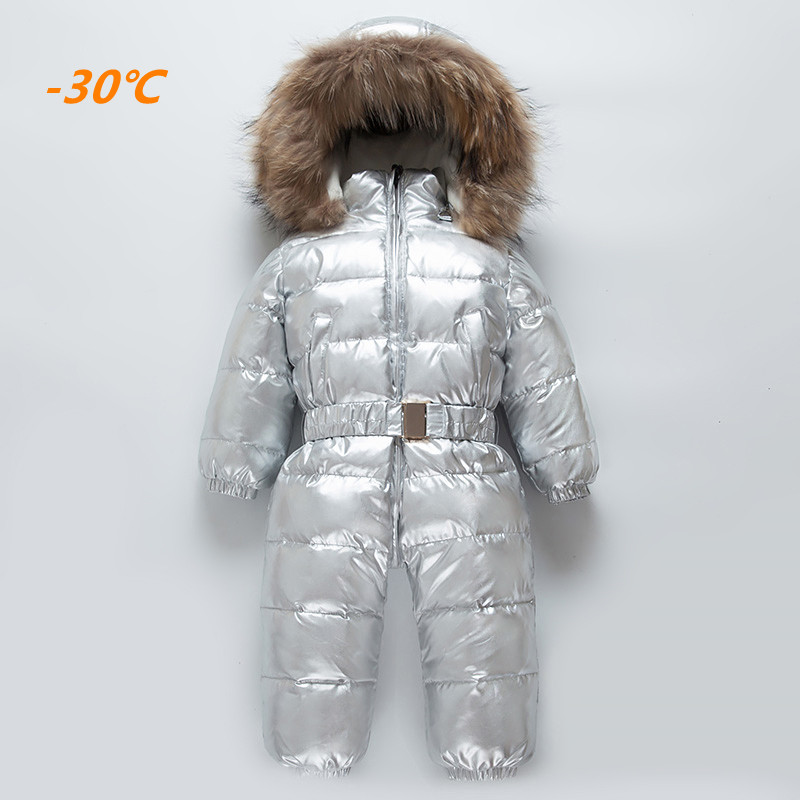 -30 2018 Winter Baby Big Fur Collar Warm Rompers Child Hooded Windproof White Duck Down Jumpsuits kids Outdoor Cold Ski coat