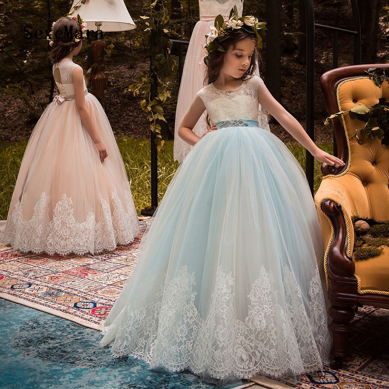 New Puffy Tulle Girls Dress for Wedding Lace Applique with Beaded Sash Girls Birthday Dress Pageant Prom Gown Custom Made Size in Flower Girl Dresses from Weddings Events