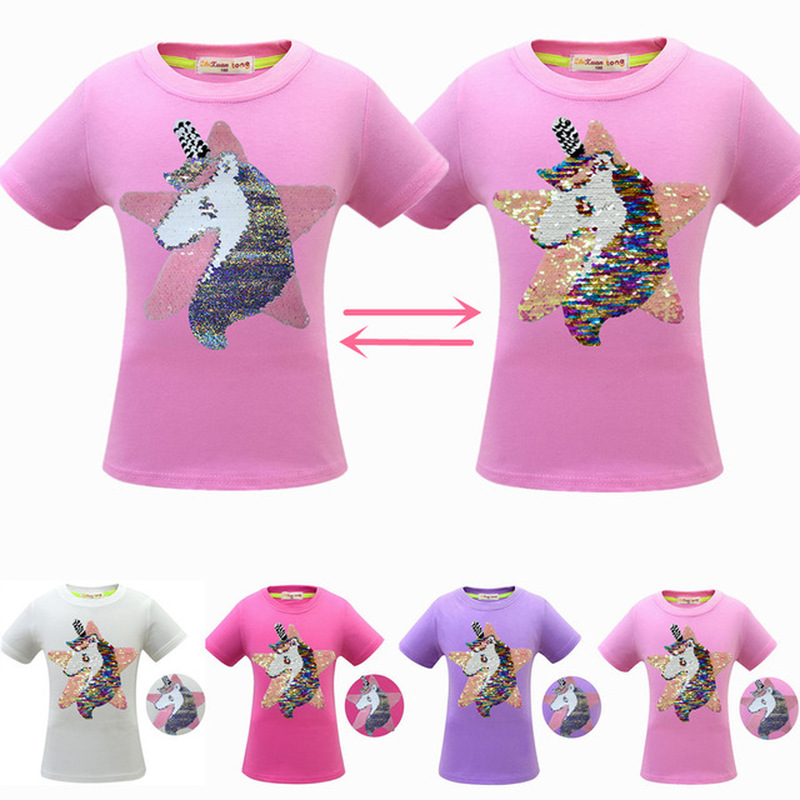 New Girl pink Sequins Color Change T shirt Kids Unicorn Star Flip Double Sided T-shirts Children Baby Tops Tee Glitter Clothes image