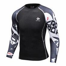 Мужские Рубашки Сжатия Бодибилдинг Облегающие Длинные Рукава Трикотажные Clothings ММА Crossfit Упражнение Тренировки Фитнес Спортивная