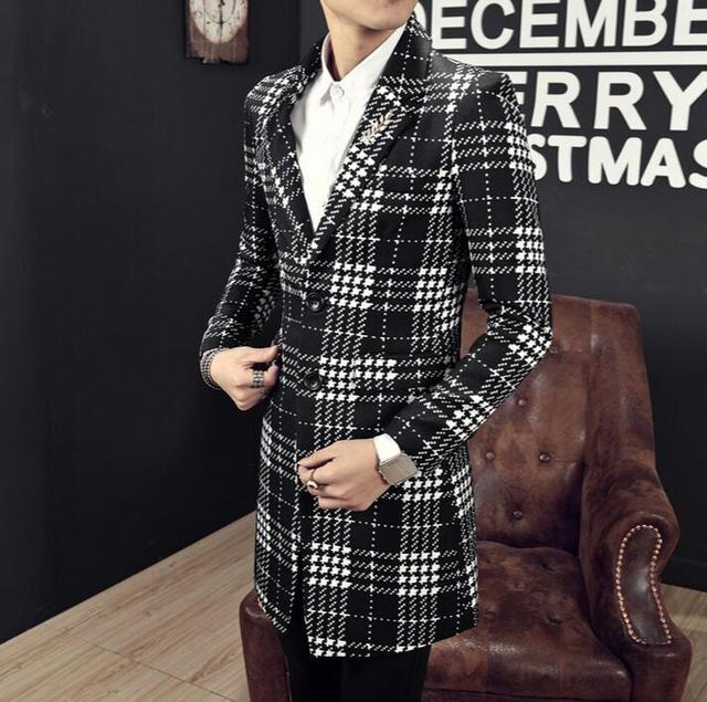 2016 spring new men's England Medium style plaid trench coat  youth Korean version Slim Fashion suit collar jackets M-XXXL