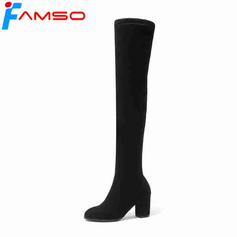 FAMSO 2018 New Arrival Women Slip-on Boots Designer Fashion Autumn Party Boots Thick Heels Winter Over the knee Boots Shoes