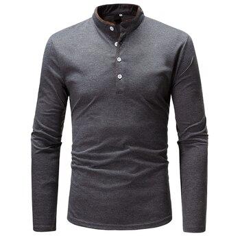 2018 New Brand Men Polo Shirt Solid Color Long-Sleeve Slim Fit Shirt Men Cotton Polo Shirts Casual Shirts XXXL T969
