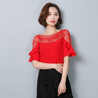 2016 Summer Chiffon Blouse Korean Lace Hollow Out Plus Size Women Shirt Short Sleeved Chiffon Shirt