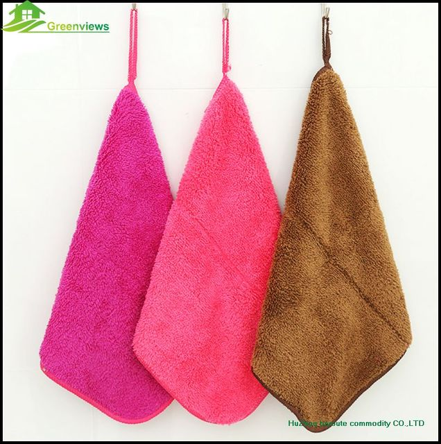 Charming 5PCS/Lot,Coral Fleece Kitchen Towels With Ties Kitchen Hanging Coral Fleece  Towel Terry