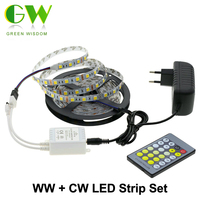 Double Color LED Strip 5025/2835 Cold White +Warm White 12V 5M Strip + Color Temperature Controller + DC12V 3A Power Adapter