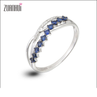 Christmas Gift 14K White Gold 0 28 CT Blue Sapphire Genuine HI I1 Diamonds Prong Setting