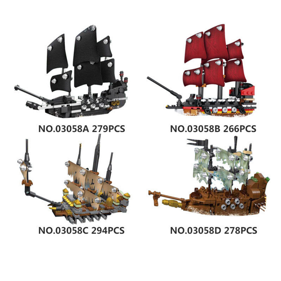Upgraded Movie Mini Caribbean Pirate Ship Building Block Model Black Pearl Anne Avenger Silent Marie Bricks Toys Collection