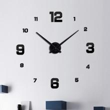 new fashion diy acrylic mirror wall clock europe 3d big quartz watch still life clocks living room home decoration stickers