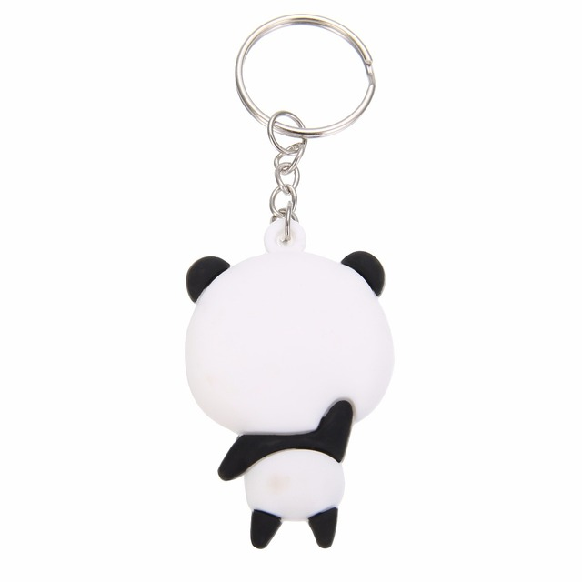 1pc Cute Cartoon Panda Keychain Keyring Bag Pendant Silicone Animals Panda Handbag Key Ring Chain Women Girls Gift