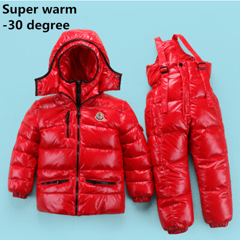 WENDYWU 2017 Russia Winter children clothing sets Girl Ski suit set sport boys Jumpsuit snow Jackets/coats+ bib pants 2pcs set 2017 winter children clothing set russia baby girl ski suit sets boy s outdoor sport kids down coats jackets trousers 30degree