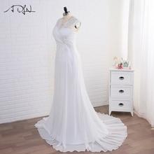 ADLN In Stock Wedding Dress Plus Size Cap Sleeve Applique Women Beach Bridal Gowns Chiffon Vestido De Noiva Lace-up Back