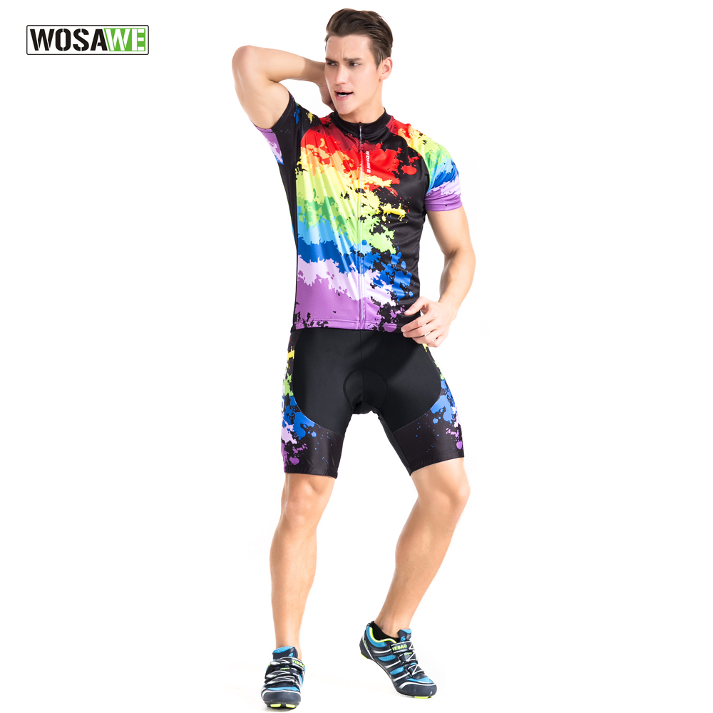 WOSAWE New Summer Cycling Sets Short Sleeve Jersey + Gel padded Shorts MTB Mountain Bike Bicycle Riding Cycling Clothings