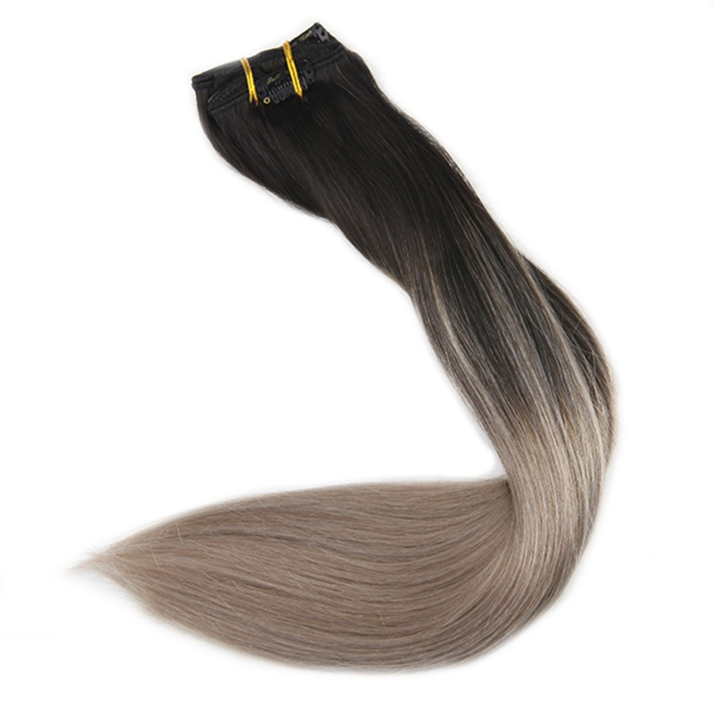 Brilho completo cinza loira extensões de cabelo humano grampo no cabelo 10 pçs 120gram cor 1b desvanecimento a 18 ombre máquina feita remy