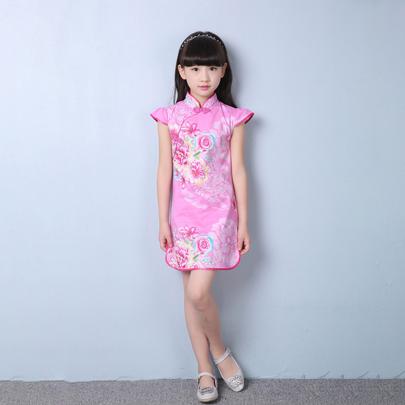 2018 Summer Children Cheongsam Oriental Chinese Clothes Girls Short Sleeve 12 Style Cheongsam Skirt Cotton Children Girl Clothes