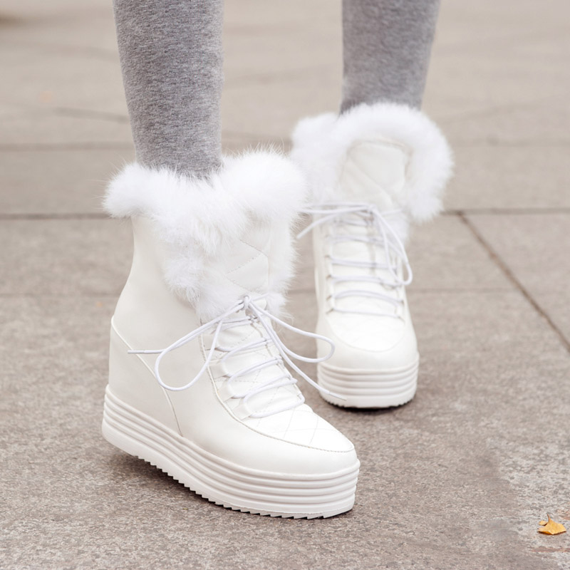 Femmes Femme Noir 43 D'hiver Nouveau Plate Vente Bottes Neige Chaud Wedge Fourrure Marque blanc Doratasia Tailles Chaussures forme Sur Talon Russie Plus vAxHPRnIw