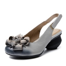 2017  vogue  retro black  British Women's  Casual  excessive heel pumps Spring Autumn footwear lady  prime quality flower  Hot Sale