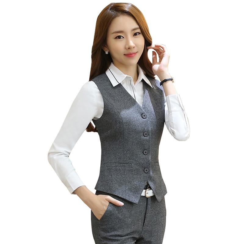 Slim Short Career Formal Women's Vest Black Gray Red Gilet Femme Waistcoat Sleeveless Jacket Office Lady Waistcoat Work Wear 5XL
