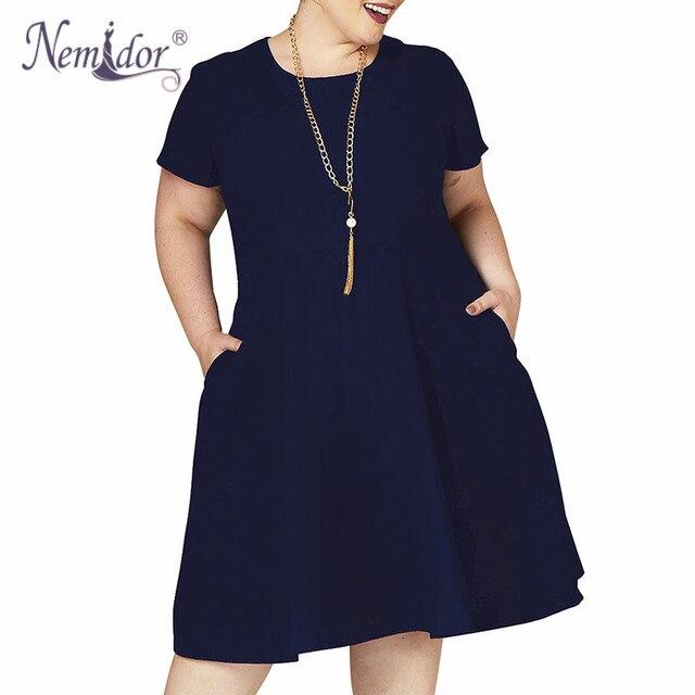 Nemidor Women Retro Short Sleeve O-neck Party A-line Swing Dress Stretchy Plus Size 7XL 8XL 9XL Midi Casual Dress With Pockets