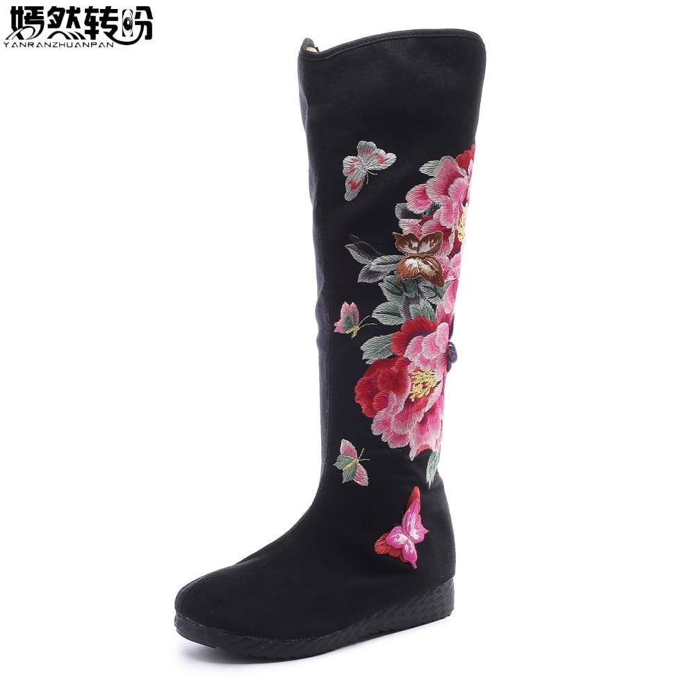 Vieux Toile Haute rouge Brodé Pivoine Femmes Noir Bottes Tissu Nouveau Floral Pékin Simples Papillon Broderie Automne x7XqTw0B