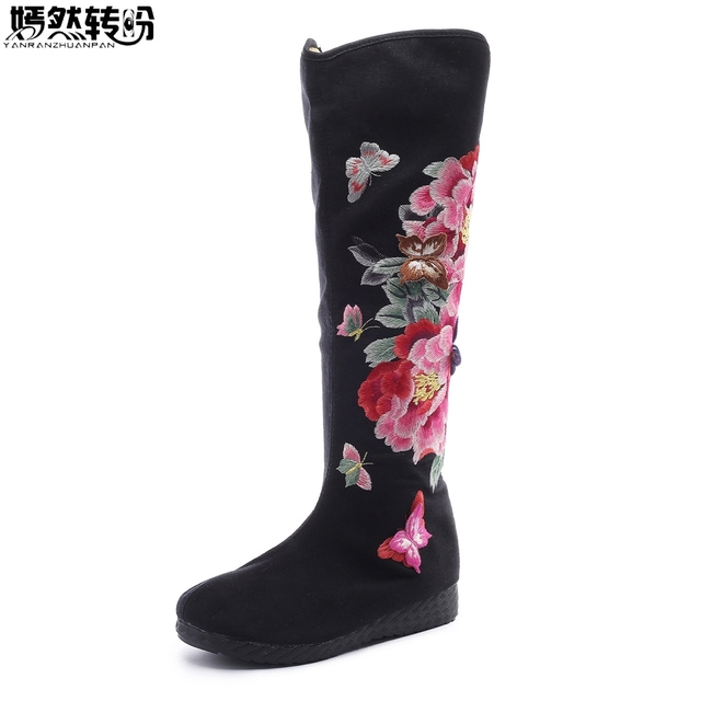 Women Boots Autumn New Floral Embroidery Old Beijing Canvas Butterfly Peony Embroidered Women Canvas Cloth High Single Boots