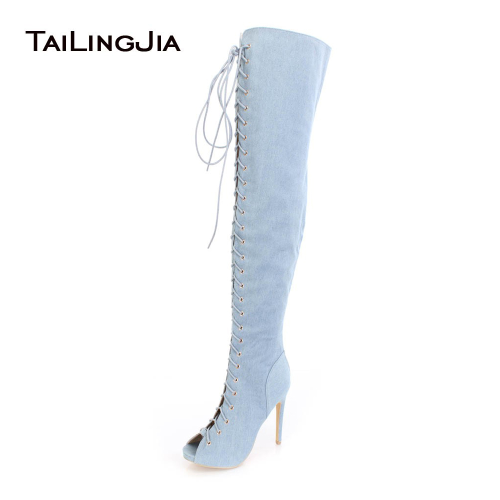 Women Peep Toe Over the Knee High Denim Boots Lace up Sexy High Heel Thigh High Boots Jeans Long Boots with Zipper Large Size