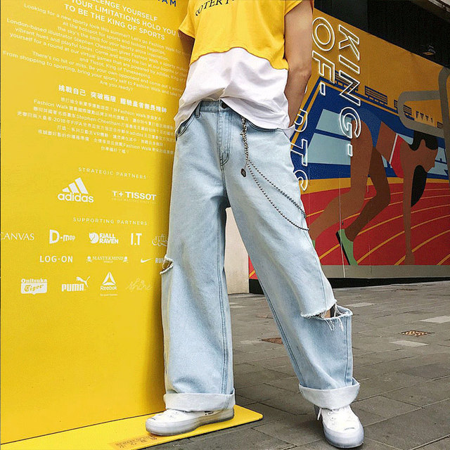 Baggy jeans with holes, big yard harbor style, high street, thin hip-hop style men's pants  2018  High quality men's trousers